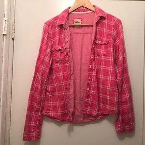Tops - Pink plaid hollister flannel